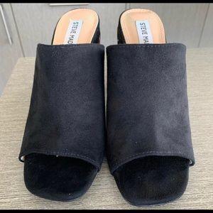 Black open toed block heel